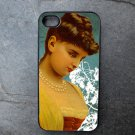 Vintage Female on Blue and White Print Background Decorated iPhone 4,5,6 or 6plus Case