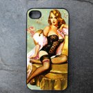 Pinup Girl in Black on Chair Decorated iPhone 4,5,6 or 6plus Case