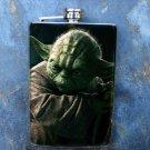 Stainless Steel Flask - 8oz., Yoda Print on Black Background