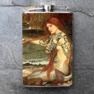 Stainless Steel Flask - 8oz., Tattooed Mermaid Print