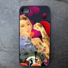 Tattooed Rosie the Riveter on Colorful Print Background Decorated iPhone 4,5,6 or 6plus Case