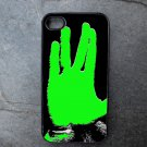 Star Trek Green Hand Print on Black Background Decorated iPhone 4,5,6 or 6plus Case