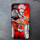 Day of the Dead Man on Bike on Red Background Decorated iPhone 4,5,6 or 6plus Case
