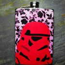 Stainless Steel Flask - 8oz., Storm Trooper in Red on Flower Background
