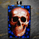 Stainless Steel Flask - 8oz., Skull on Blue Print Background