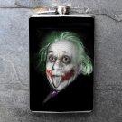 Stainless Steel Flask - 8oz., Joker Style Albert Einstein Print Background