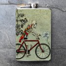 Stainless Steel Flask - 8oz., Day of the Dead Man on Bike with Tree Background