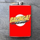 """Stainless Steel Flask - 8oz., """"Bazinga"""" Quote on Red Background"""