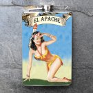 "Stainless Steel Flask - 8oz., Pin Up Girl ""El Apache"" Banner"