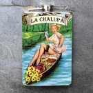 "Stainless Steel Flask - 8oz., Pin Up Girl ""La Chalupa"" Banner"