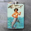 "Stainless Steel Flask - 8oz., Pin Up Girl ""La Sirena"" Banner"