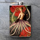 Stainless Steel Flask - 8oz., Pin Up Girl with Octopus Body Flower Print Background
