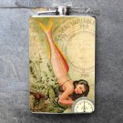 Stainless Steel Flask - 8oz., Pin Up Girl with Fish Body on Cream Colored Background