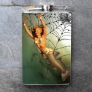 Stainless Steel Flask - 8oz., Pin Up Girl with Shark Body Web Print Background