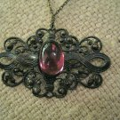Retro Black Metal Filigree Pendant with Purple Glass Stone, Extra Long Chain Necklace