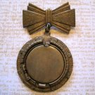 Vintage Brass Locket Pin with Bow