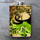 Stainless Steel Flask - 8oz., Green Octopus on Tan and Black Print Background