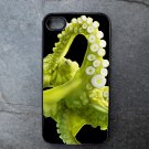 Green Octopus on Black Background Decorated iPhone 4,5,6 or 6plus Case