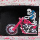 Hand Decorated Wallet, Day of the Dead Skeleton on Motorcycle Print