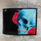 Hand Decorated Wallet, Skull with Flower Background Print