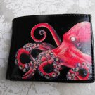Hand Decorated Wallet, Pink Octopus Print
