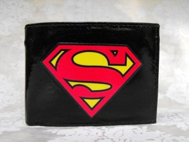 Hand Decorated Wallet, Superman Logo Print