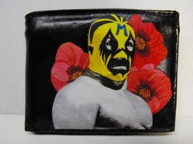 Hand Decorated Wallet, Lucha Libre Man with Red Flowers Print