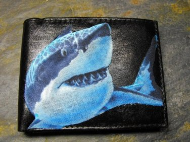 Hand Decorated Wallet, Shark Print