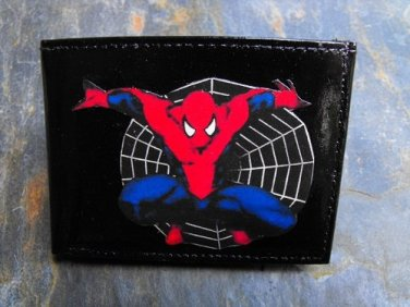 Hand Decorated Wallet, Spider Man with Web Background Print
