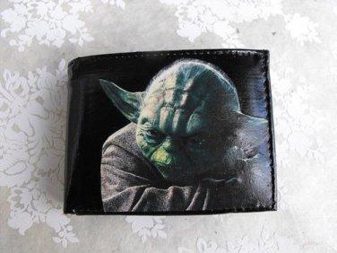 Hand Decorated Wallet, Yoda Print