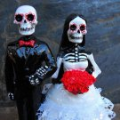Day of the Dead Couple with Lace Skirt Wedding Cake Toppers