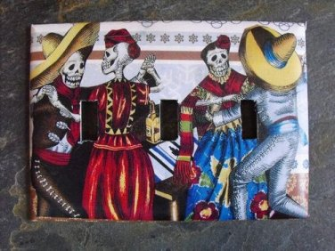 Triple Switch Plate Cover, Day of the Dead Couples Dancing Image