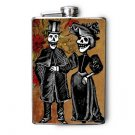 Stainless Steel Flask - 8oz., Day of the Dead Couple in Black and White
