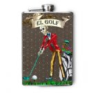 "Stainless Steel Flask - 8oz., Day of the Dead Man Golfing ""El Golf"""