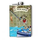 "Stainless Steel Flask - 8oz., Day of the Dead Man Fishing ""El Pescador"""