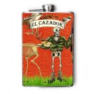 "Stainless Steel Flask - 8oz., Day of the Dead Man Hunting ""El Cazador"""