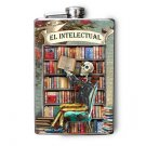 """Stainless Steel Flask - 8oz., Day of the Dead Guy """"El Intelectual"""""""