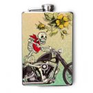 Stainless Steel Flask - 8oz., Day of the Dead Skeleton on Motorcycle