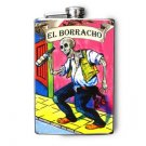 "Stainless Steel Flask - 8oz., Day of the Skeleton Drinking ""El Barracho"" Banner"