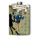 "Stainless Steel Flask - 8oz., Day of the Dead Skeleton ""El Fumador"" Banner"