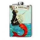 """Stainless Steel Flask - 8oz., Skeleton Mermaid """"La Sirena"""" Banner"""