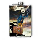 """Stainless Steel Flask - 8oz., Day of the Dead Man """"El Viajero"""" Banner"""