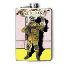 "Stainless Steel Flask - 8oz., Day of the Dead Soldior ""El Soldador"" Banner"