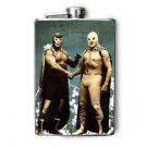Stainless Steel Flask - 8oz., Two Luche Libre Fighters Shaking Hands