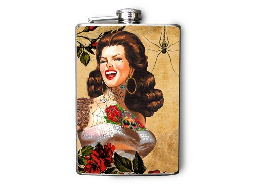 Stainless Steel Flask - 8oz., Pin Up Girl with Tattoos and Spider Print