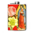 Stainless Steel Flask - 8oz., Our Lady of Guadalupe with Flower Print Background