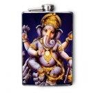 Stainless Steel Flask - 8oz., Ganesha Print in Dark Blue