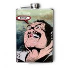 """Stainless Steel Flask - 8oz., Comic Guy with """"Bueno"""" Meme"""