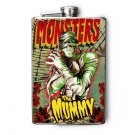 "Stainless Steel Flask - 8oz., ""Monsters"" the Mummy Print"