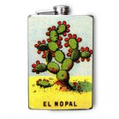 Stainless Steel Flask - 8oz., Cactus Print Loteria Card El Nopal